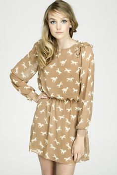 Pony Power Dress - Mink Brown/Cream
