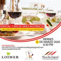 📌#Viernes 6 de marzo desde las 6:30 pm Llega nuestra Noche de Vinos 🍷🍾 Tenemos el placer de invitarles al Especial Cata de Vinos Austriacos, con deliciosas tapas de éste país de Europa Central. Con el Sommelier Jairo Rey y el experto en vinos Ricardo Wilches. Cupo limitado | Requiere inscripción  www.casaalemana.net | Cel 3057757752 | cultura@casaalemana.net #CasaAlemana #CasaAlemanaBogota #Vino #Evento #Wein #Wine #Amigos #Diadelamujer #Marzo Tapas, Wine Night, Wine Tasting, March, Friday, Europe, Friends, Wine, Culture