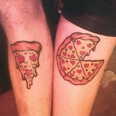 tatuajes originales de pareja pizza lover couple tattoo