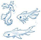 Vektor: Set of fantastic animals, creatures, seahorse, shark, fish. Hand drawn doodle vector illustration.