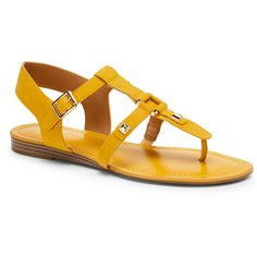 Franco Sarto Tropical Yellow Geyser Flat Gladiator Sandals ($40) ❤ liked on Polyvore featuring shoes, sandals, yellow, roman sandals, synthetic shoes, yellow gladiator sandals, yellow sandals and yellow shoes
