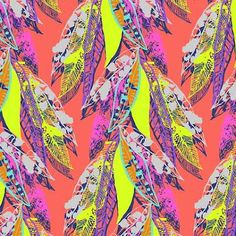 neons and pastels made a baby :) Art And Illustration, Pattern Illustration, Pattern Drawing, Pattern Art, Feather Pattern, Textile Prints, Textile Patterns, Pretty Patterns, Surface Pattern Design