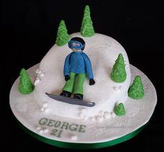 Snowboarder cake Snowboard Cake, Sport Cakes, Birthday Cake, Christmas Ornaments, Holiday Decor, Sports, Desserts, Food, Birthday