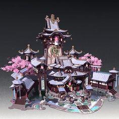 ArtStation - 三叠色 Size Fantasy City, Fantasy Castle, Landscape Concept, Fantasy Landscape, Environment Concept Art, Environment Design, Asian Architecture, Fantasy Concept Art, Minecraft Designs