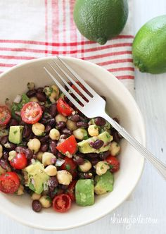 Want to try this cumin-lime vinagrette! Fiesta Bean Salad – Black beans, chick peas, tomatoes, cilantro and avocado are tossed with a cumin-lime vinaigrette – bright, fresh and easy! Think Food, I Love Food, Vegetarian Recipes, Cooking Recipes, Healthy Recipes, Yummy Recipes, Cooking Tips, Recipies, Lime Recipes