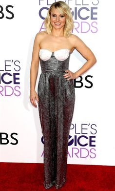 Kristen Bell in a strapless silver dress