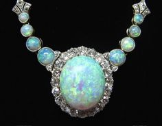 Late 1800's opal and diamond necklace