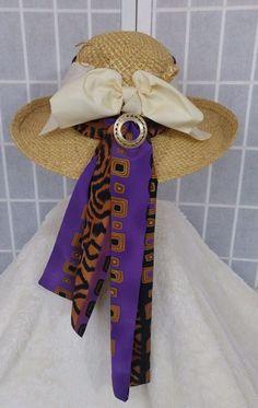 85ddac54281 Vintage Straw Hat Wide Brim Tribal Scarf OOAK Handmade Vintage Jewelry  Derby Bow  ONSale