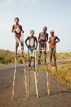 Bena Boys on Stilts, Omo Valley, Ethiopia.