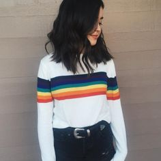 rainbow long sleeve shirt *I'd rather a grey or maybe light teal background instead of white.