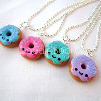 Donut Pendant Kawaii Polymer Clay Necklace by DoodieBear on Etsy