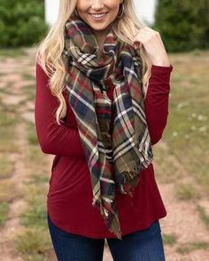 Plaid Scarf, Poncho Scarf, Grace And Lace, Wearable Blanket, Thing 1, Simple Outfits, Perfect Fit, Denim, Long Sleeve