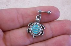 Turquoise Turtle Cartilage with White Rhinestones 16ga Earring Body Jewelry