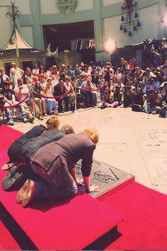 Daniel Radcliffe (Harry Potter), Rupert Grint (Ron Weasley), and Emma Watson (Hermione Granger)