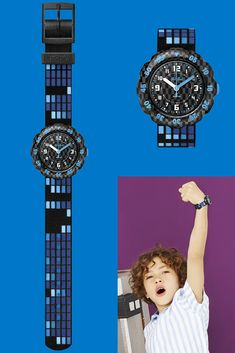 A stylish blue and black watch for kids that makes learning the time a blast, the elegantly designed SQUARE will be a gift from another galaxy. Its comfy textile strap is machine washable at C, so it stays clean no matter where it roams. Comfy, Watches, Learning, Stylish, Gift, Collection, Black, Design, Wristwatches