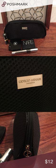 Giorgio Armani Cosmetics Bag Giorgio Armani small cosmetics bag. Black with gold hardware. Brand new. (Cosmetics on the picture are not included) Giorgio Armani Bags Cosmetic Bags & Cases