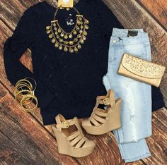 All About that Lace Top: Navy