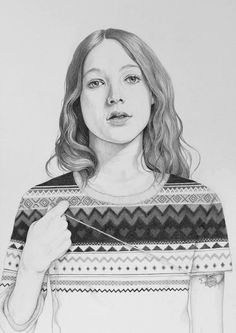 Looking for inspiring black and white portrait ideas for my Drawing class. Like this one.