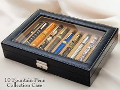 WANCHER 10 Fountain Pen Display Collection Box (Fit All Pen Sizes) - Engeika Finest Shop $85 -  Black Leather calf skin hide Lock Key