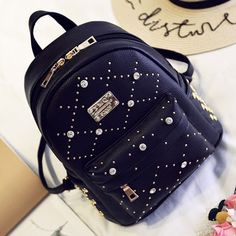 Fashion PU Rivet Girl College Rucksack Quilted School Backpack