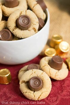Rolo Peanut Blossoms   Sugar coated peanut butter cookies topped with a chocolate caramel Rolo