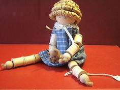 Vintage Wooden Thread Spool Doll