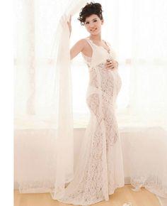 0f4f988390de2 Fancy Pregnancy Photo Shoot Studio Clothing Maternity Lace Flower Gown  Dress Pregnant Photography Props V-