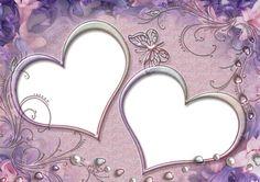 Purple Heart Frames | Two Hearts Frames on Purple Background Theme