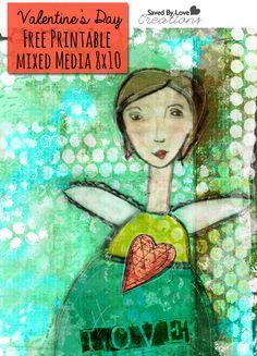 "Free Mixed Media ""Love"" Valentine's Day Printable 8x10 Art from @savedbyloves #mixedmedia #valentinesday #freeprintable"