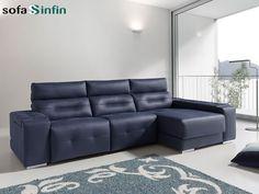 Sofá relax de 3 y 2 plazas con chaise-longue modelo Ash fabricado por Acomodel en Sofassinfin.es