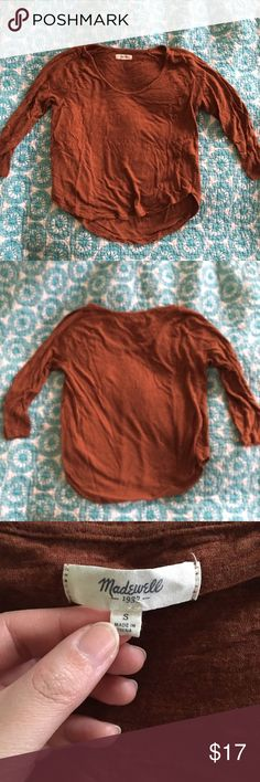 """Madewell anthem scoop tee in rust Shrank slightly in the wash so it's more of a cropped fit (front is about 20-21"""" and back is about an inch longer). I've been wearing it with high waisted jeans. Drapey fit. Kind of a medium weight fabric. 3/4 sleeve. Madewell Tops Tees - Long Sleeve"""