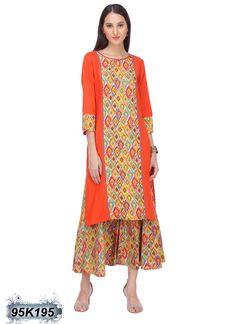 Outstanding Orange Coloured Rayon Flex Kurti
