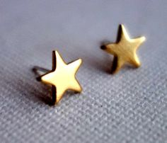 Brass Star Studs.. Too cute!