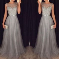 Fashion prom dresses beaded top with tulle skirt