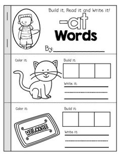 CVC Booklets- Build it, Read it, Write it! There are 23 different word families booklets to help build simple CVC words! Word Family Activities, Cvc Word Families, Children Activities, Book Activities, Preschool Activities, Kindergarten Language Arts, Kindergarten Literacy, Professor, Teaching Reading