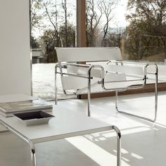 Wassily Chair, Marcel Breuer 1925. Inspired by the frame of a bicycle and influenced by the constructivist theories of the #DeStjil movement, Marcel #Breuer was still an apprentice at the #Bauhaus when he reduced the #classic club #chair to its elemental lines and planes, forever changing the course of #furniture #design. Photo by Knoll