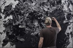 Viewing pics of Shelby Shadwell's large scale charcoal mashups of cockroaches, trash bags, and found objects are sure to move you to drawing big!
