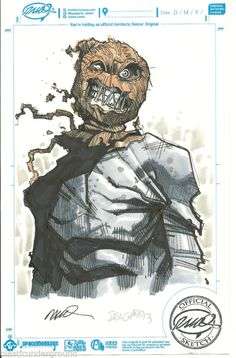 ✔ Humberto Ramos Edgar Delgado DC Comics Color Scarecrow Original Sketch Batman   eBay