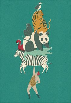 Menagerie Print. *I love it when animals are stacked on top of each other. This just tickled me.
