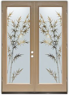 Bamboo Forest Negative Double Entry Doors Hand-crafted sandblast frosted and Window Glass Design, Frosted Glass Design, Frosted Glass Door, Glass Etching Designs, Glass Painting Designs, Stained Glass Designs, Etched Glass Door, Glass Front Door, Sliding Glass Door