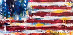 Amerikanische Flagge ABSTRACT Painting - abstrakter Expressionismus moderne Malerei auf Leinwand
