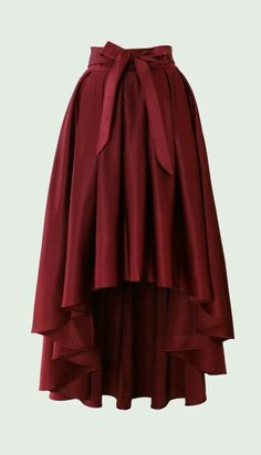 Pretty for dress-up. --Bowknot Asymmetric Waterfall Skirt in Wine Red Modest Fashion, Fashion Dresses, Unique Fashion, Pretty Outfits, Cute Outfits, Skirt Outfits, Mode Glamour, Vetement Fashion, Cute Skirts