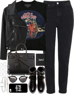 Outfit with mom jeans for autumn by ferned featuring cuff jewelry Balenciaga blue top, 290 AUD / Acne Studios biker jacket, 1 665 AUD / Topshop high rise jeans, 78 AUD / Yves Saint Laurent black boots, 1 070 AUD / Yves Saint Laurent handbags tote, 2...
