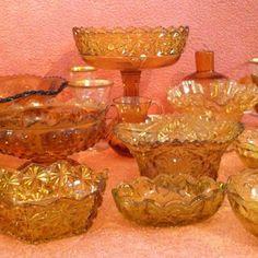 Vintage amber glass set. Rent the whole collection or just a few pieces. www.anightinbloom.com #weddingdecor #rental #hudsonvalleywedding #catskillswedding #glass #amber
