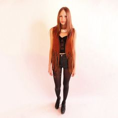 '70s Leather Lace Up Fringe Vest, $156, now featured on Fab.