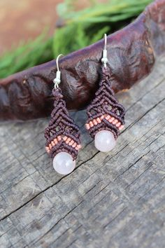 Macrame Earrings with Rose Quartz Stone Beads, Boho Earrings Micro Macrame and Rose Quartz