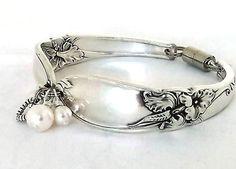 Spoon Bracelet White Orchid 1953 Vintage Silverware Jewelry Silver Flatware Braclet Upcycled Handle Swarovski Pearl Charm Heart Flower