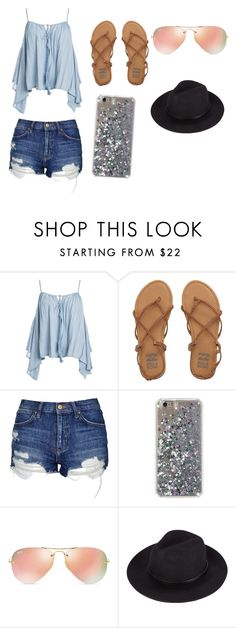 """""""Summer Vacation"""" by kiana-champ ❤ liked on Polyvore featuring Sans Souci, Billabong, Topshop and Ray-Ban"""