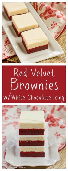 Red Velvet Brownies with White Chocolate Icing for a decadent, delicious chocolate overload experience!!! from thatskinnychickcanbake.com @lizzydo