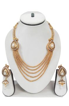 Charming Blue Gold Plated Necklace Set